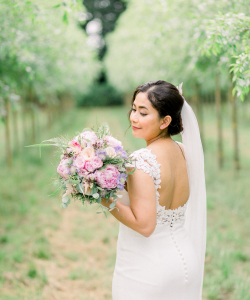 Bruidsboeket met rosé Pioenrozen