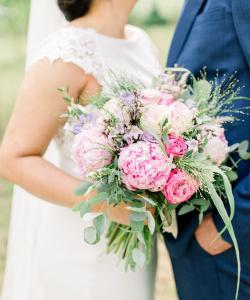 Bruidsboeket rosé Pioenrozen